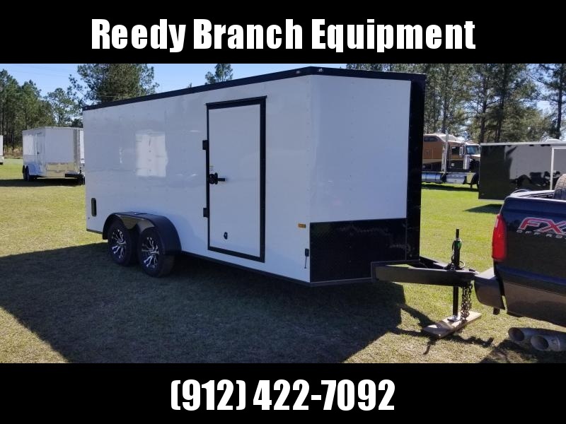 2018 ROCK SOLID CARGO  7X16TA2 (WHITE)BLACKOUT EDITION(6.3FT)Enclosed Cargo Trailer