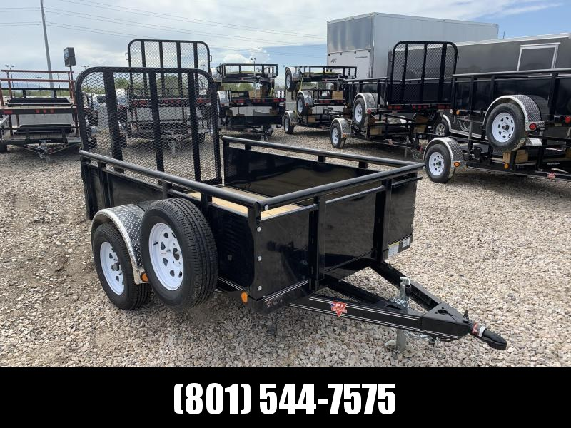 "PJ 5x8 Single Axle Channel Utility Trailer (U8) with 22"" Solid Sides"