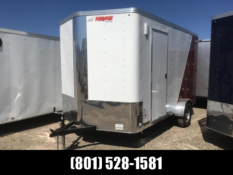 Mirage 7x12 Red & White Xpres Cargo Trailer with Side By Side Package