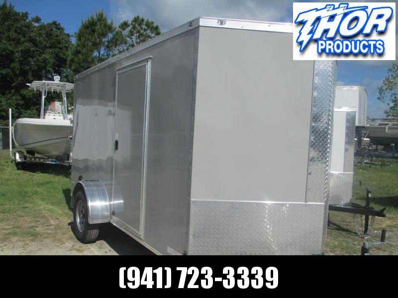 NEW 6 x 12 SA Trailer DOVE GRAY w/Ramp & side door RADIALS