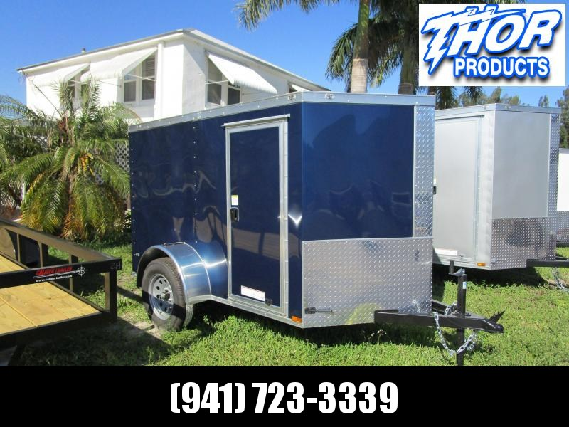NEW 5x8 V Cargo Trailer Ramp door and Side Door INDIGO BLUE