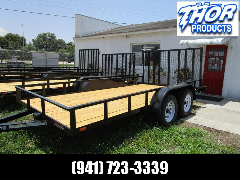 NEW 7X16 TA UTILITY TRAILER * 1 AXLE BRAKES * RAMP
