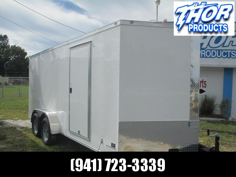 NEW 7 x 16 TA Enclosed Trailer V-nose * Ramp and Side Doors * White Roof Vent
