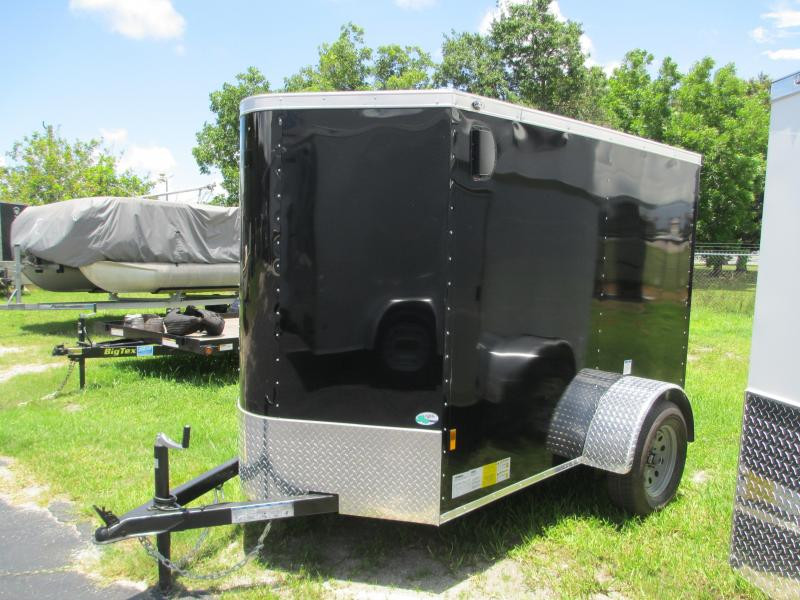 NEW 5X8 V-nose Trailer with Side Door Ramp door .030 BLACK