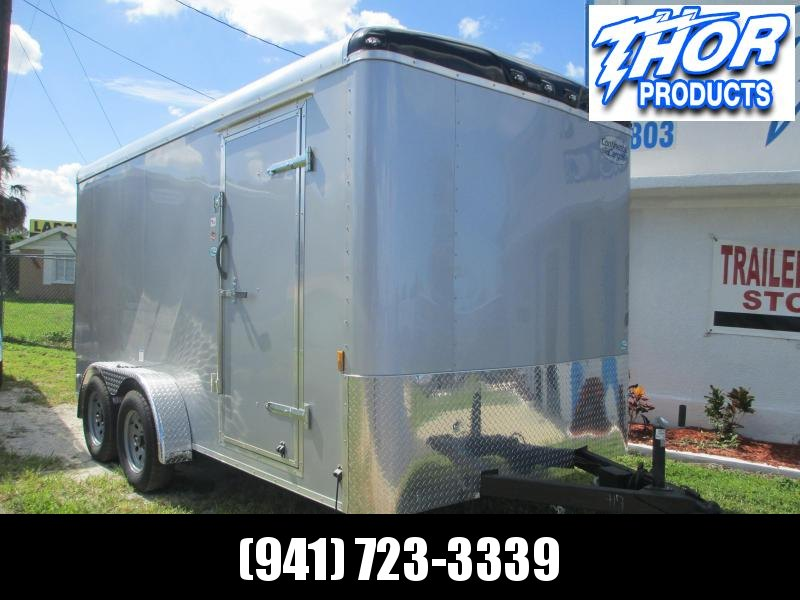 NEW 7X14 TA Enclosed Trailer W/Ramp Door Round Top SILVER SCREWLESS EXTERIOR