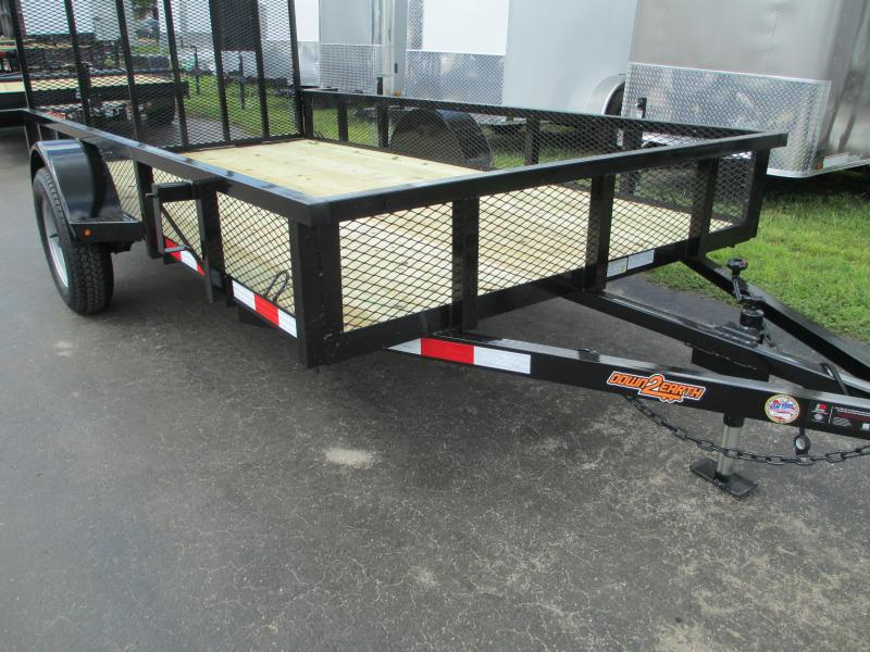 "6 x 12 SA Utility Trailer w/2"" tube top Ramp and 14"" Mesh sides"