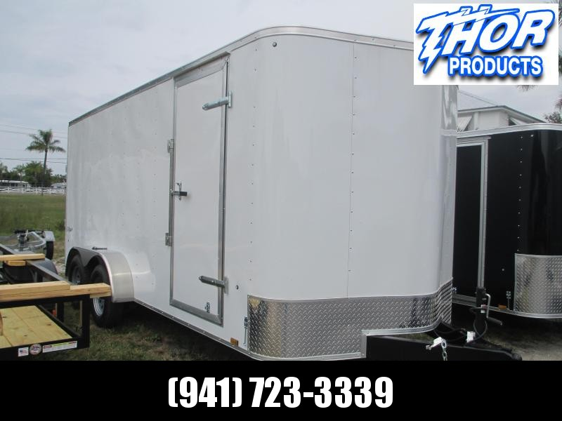 "Pace 7 x 16 TA Trailer V-nose White Ramp w/6"" extra height and roof vent"