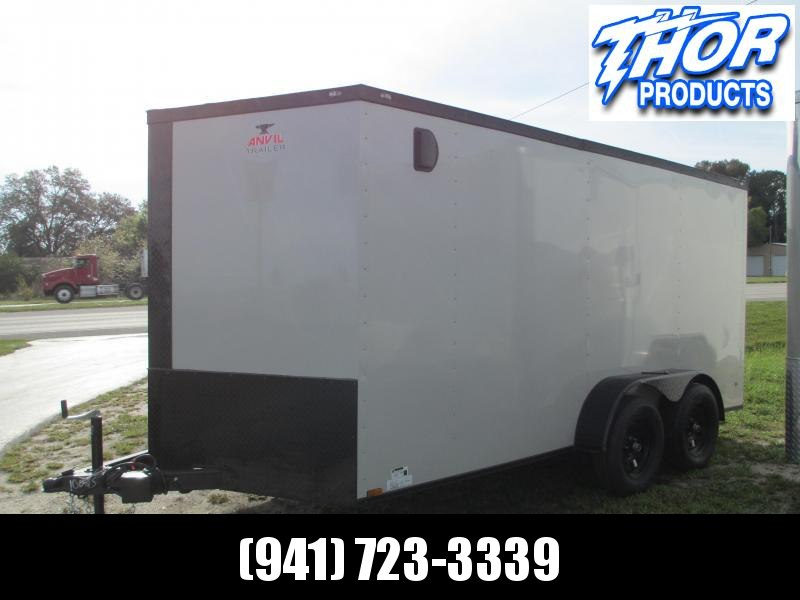NEW 7 x 14 TA Enclosed Trailer V-nose DOVE GRAY w/Ramp door BLACKOUT PACKAGE