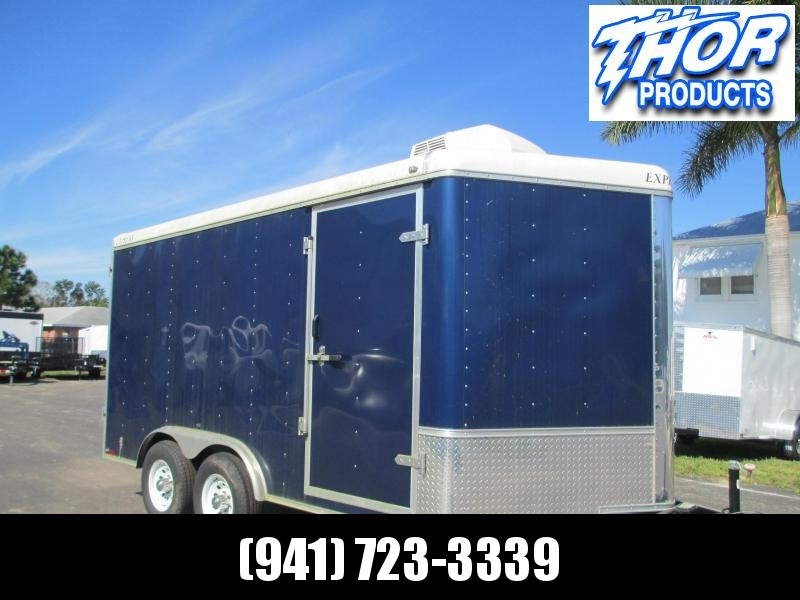 USED 8x14 7' Interior Height Enclosed Trailer * Blue * A/C double rear doors