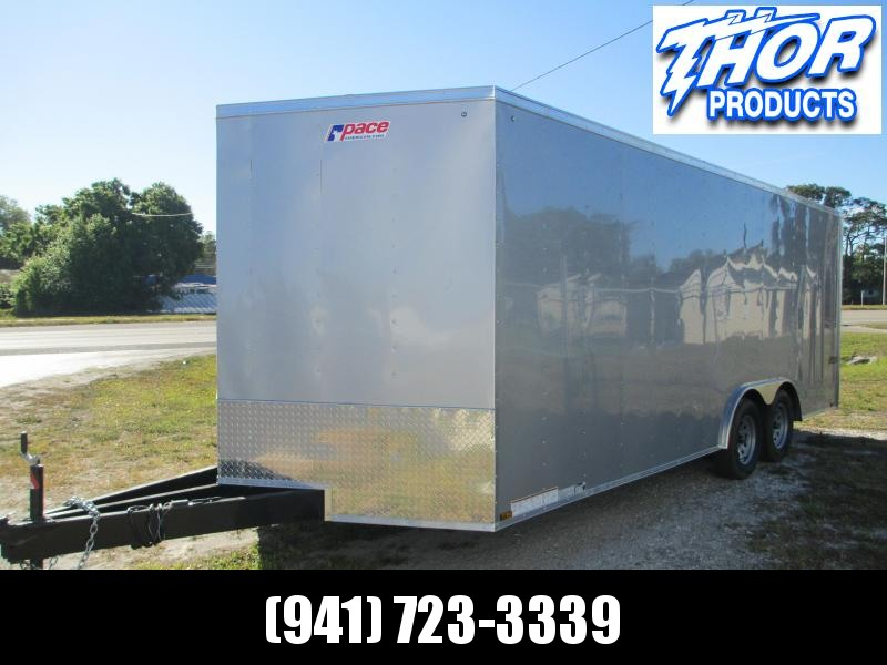 "2019 Pace 8.5X20 TA Car / Racing Trailer V-nose Silver 18"" extra long tongue ramp"