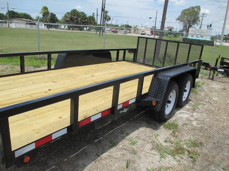 "Down 2 Earth 6'4"" x 14 TA Utility Trailer w/2' Dovetail Brakes Tube Top Ramp"