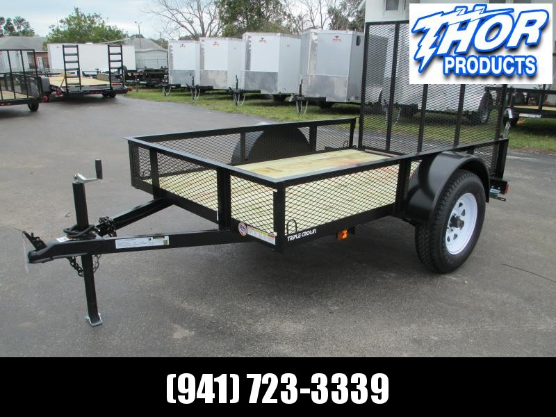 "Triple Crown 5 x 8 SA Utility Trailer w/ramp AND 15"" mesh sides"
