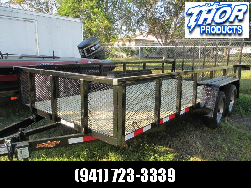 "Down 2 Earth 6'4"" x 16 TA Utility Trailer w/2' Mesh sides Brakes Tube Top Ramp"