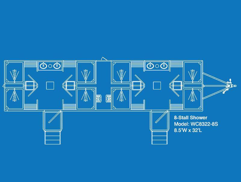 UltraLav WC8322-8S 8-Stall Shower Trailer