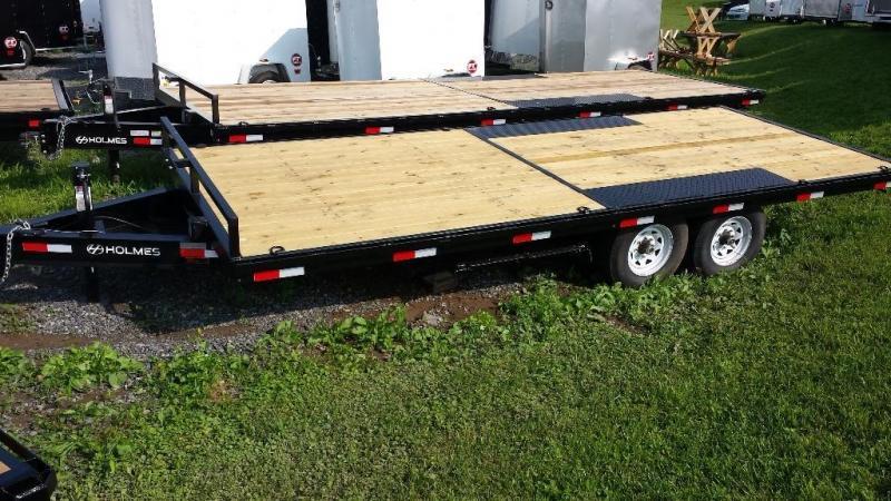 2015 Holmes 8x20 deckover flatbed trailer -12k -ramps -LED