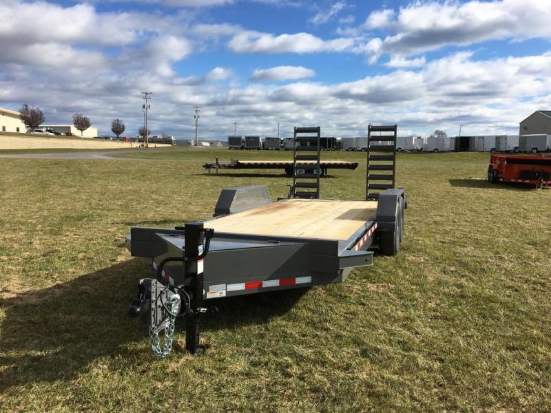 2017 Midsota 7x18 Skid Loader 14k Wood Deck Equipment Trailer