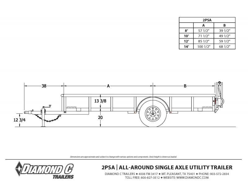8x60 2PSA-L Utility Trailer