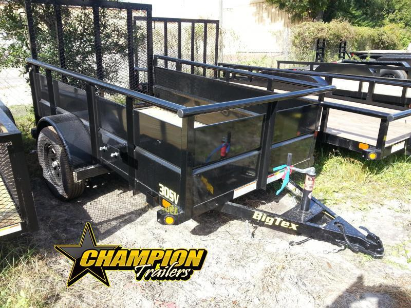 Big Tex 30SV-08BK 5 x 8 Utility Trailer Solid Sides Vanguard with 4' Ramp Gate Motorcycle Trailer
