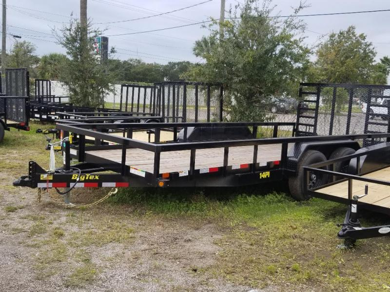 14PI 18' Big Tex Utility Trailer Equipment Trailer with 4' Heavy Duty Integrated Ramp with spring assist