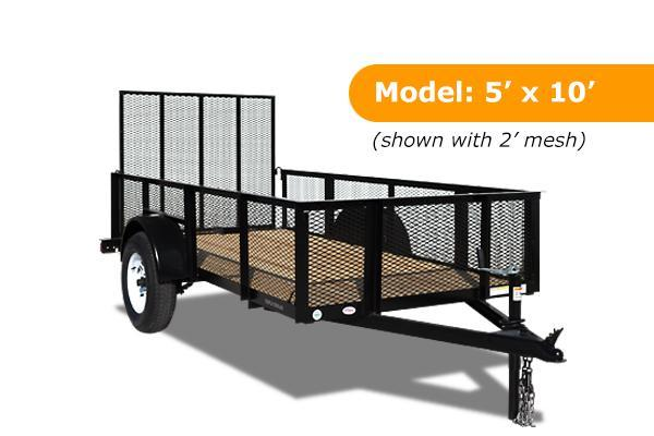 5 x 10 Open Utility Trailer With Mesh Sides