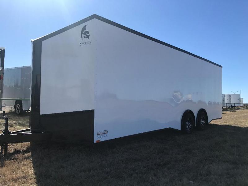2018 24'  Spartan White  Black Out slant nose torsion axles 7 ft interior
