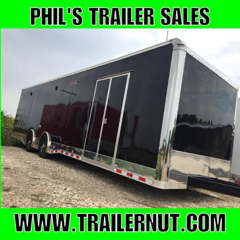 "2017 Continental Cargo Auto Master 32 ft 12"" extra ht  Black loaded race trailer"