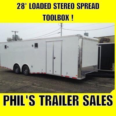 28 LOADED 7 K AXLES STEREO TOOL BOX  Trailers RACE TRAILER Car / Racing Trailer