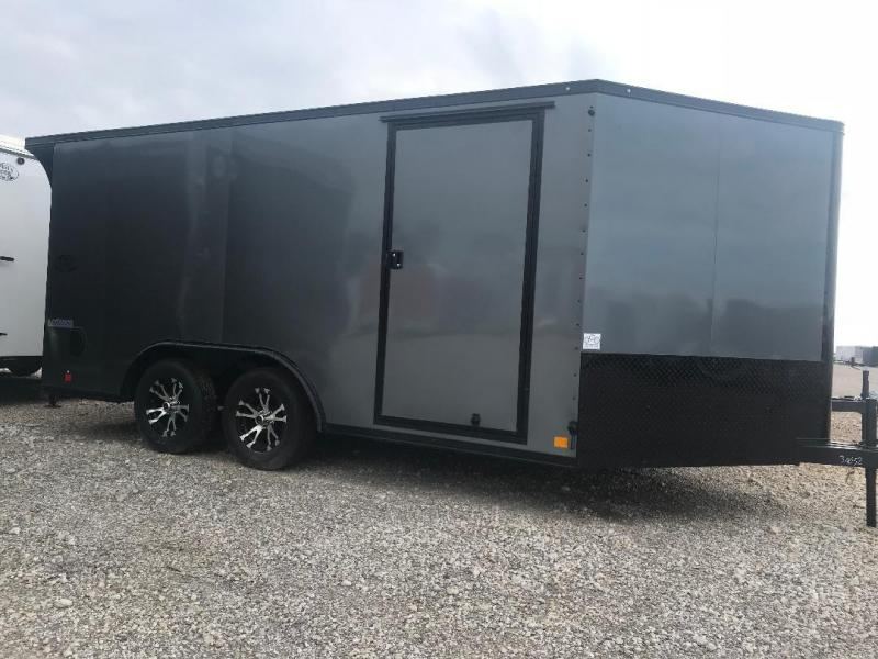 Continental Trailers 8.5x14+ 3 v CHARCOAL  BLACKED OUT trim LOADED Motorcycle Trailer