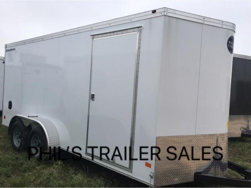 2019 Wells Cargo WHITE 7X14 + V 7 FT interior COMMERCIAL GRADE ROAD FORCE Enclosed Cargo Trailer