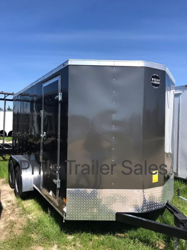 "Wells Cargo 7x16 + v 6"" extra ht  Charcoal Enclosed trailer Fast Track Cargo / Enclosed Trailer"