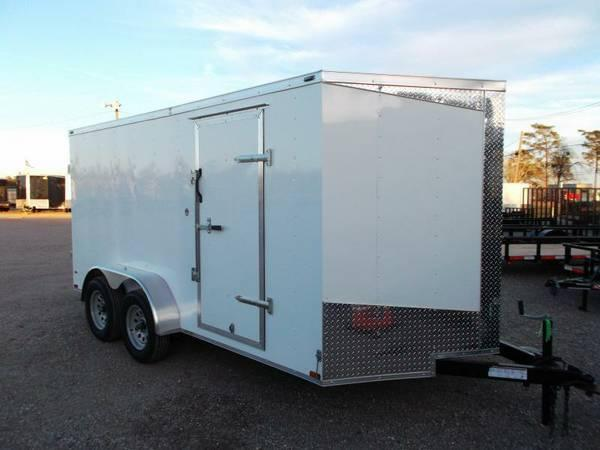 Lark Cargo Trailer 7x16 Black Ramp door side door