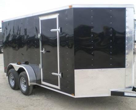 Lark Cargo Trailer 7x16 Black Ramp door side door
