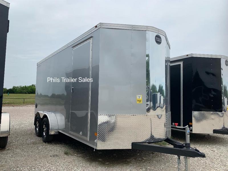 2019 Wells Cargo COMMERCIAL GRADE  7X16  + V NOSE 7 FT INTERIOR ROAD FORCE V  Nose Enclosed Cargo Trailer SILVER