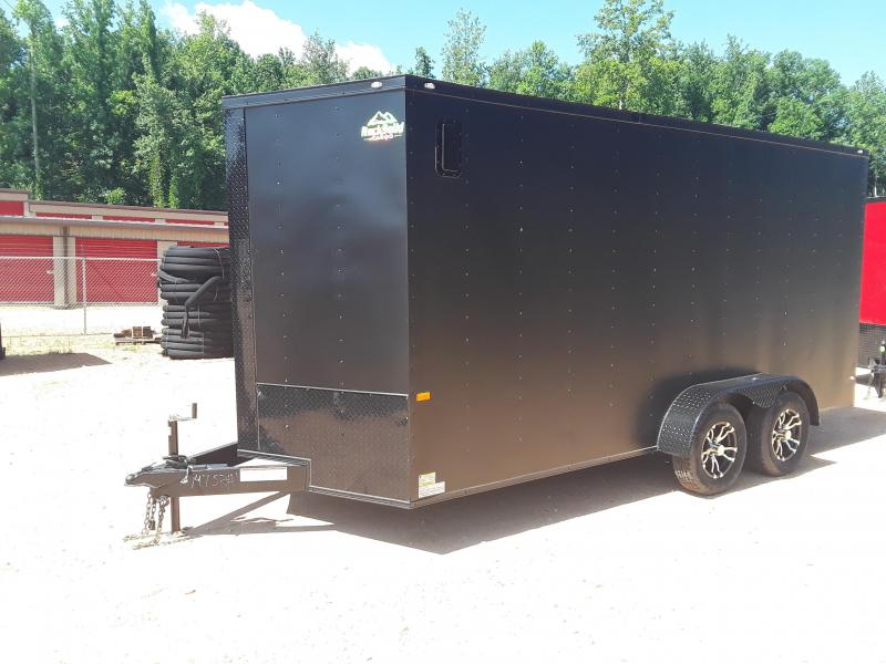2019 Rock Solid Matte Black 7' X 16'  Enclosed Trailer W Blackout Package