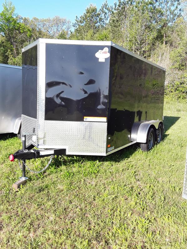 2019 Covered Wagon 7 x 14 Tandem Axles 2-3500lb Axles Black Barn Doors