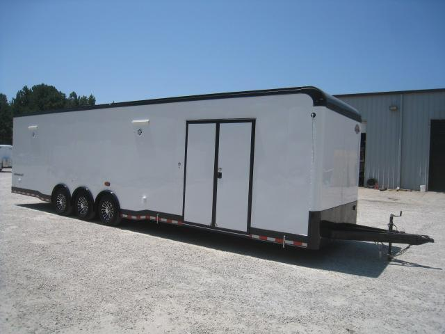 2019 Cargo Mate Eliminator 34 Car / Racing Trailer White with Blacked Out Trim