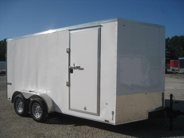 2019 Pace American Journey 7x14 Vnose Enclosed Cargo Trailer in White with Ramp Door