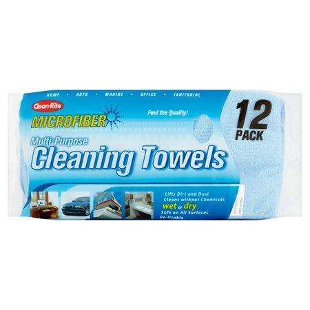 Clean-Rite Microfiber Multi-Purpose Cleaning Towels 12 count