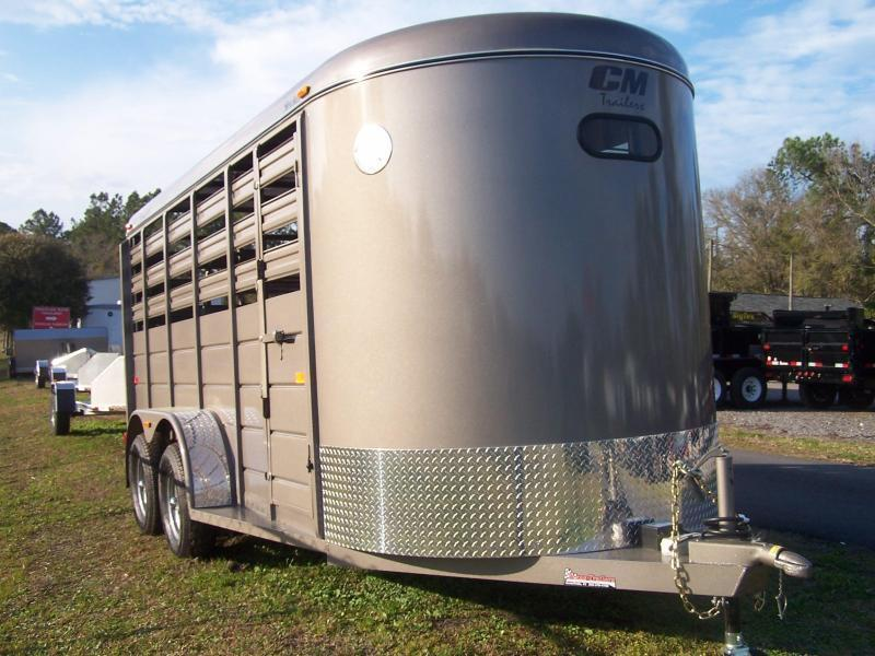 CM 16' STOCKER W/ CUT GATE AND COMBO REAR GATE W/ FULL WALK OUT ESCAPE DOOR