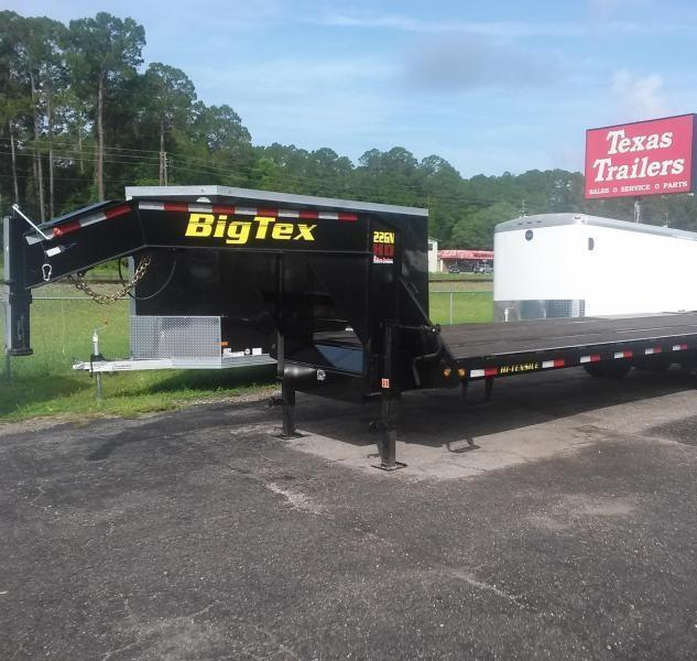 22GN-28BK+5MR BIG TEX 33' GOOSENECK DUAL TANDEM FLAT BED W/ MEGA RAMPS & FREE SPARE TIRE