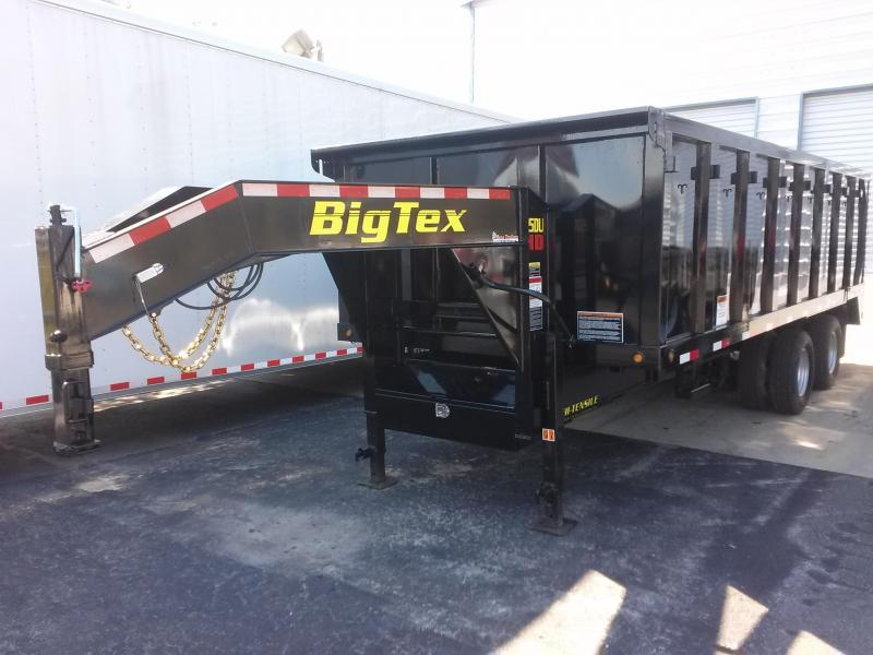 25DU-20BK8SIR BIG TEX 20' GOOSENECK DUAL TANDEM DUMP TRAILER W/ 4' SIDES AND SLIDE IN RAMPS & FREE SPARE TIRE