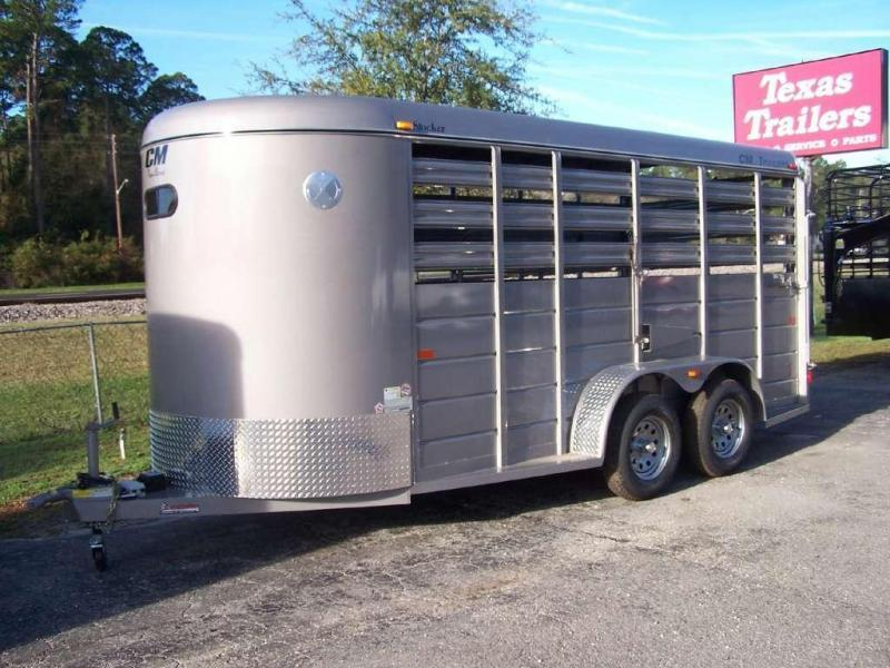 CMS6640-16 CM 16' STOCK TRAILER W/ 5200# AXLES AND 1 CUT GATE