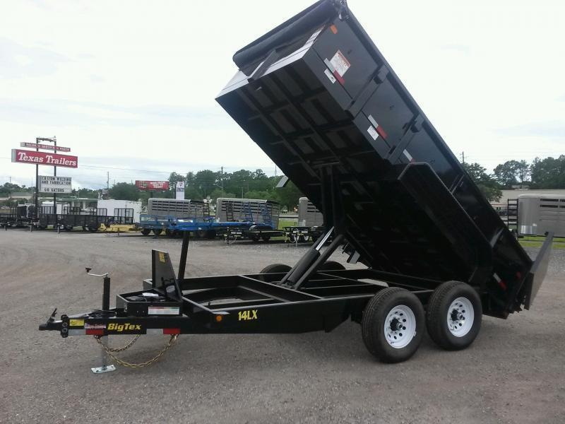 14LX-14BK7SIRPD BIG TEX 7' X 14' DUMP TRAILER W/ 7X18 TARP & COMBO REAR GATE W/ 8' SLIDE IN RAMPS