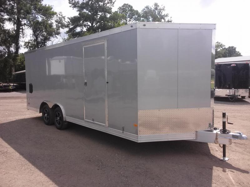 WAUV85X2022 WELLS CARGO 8.5X20 SILVER SPORT ALUMINUM ENCLOSED CAR HAULER W/ WHITE VINYL INTERIOR