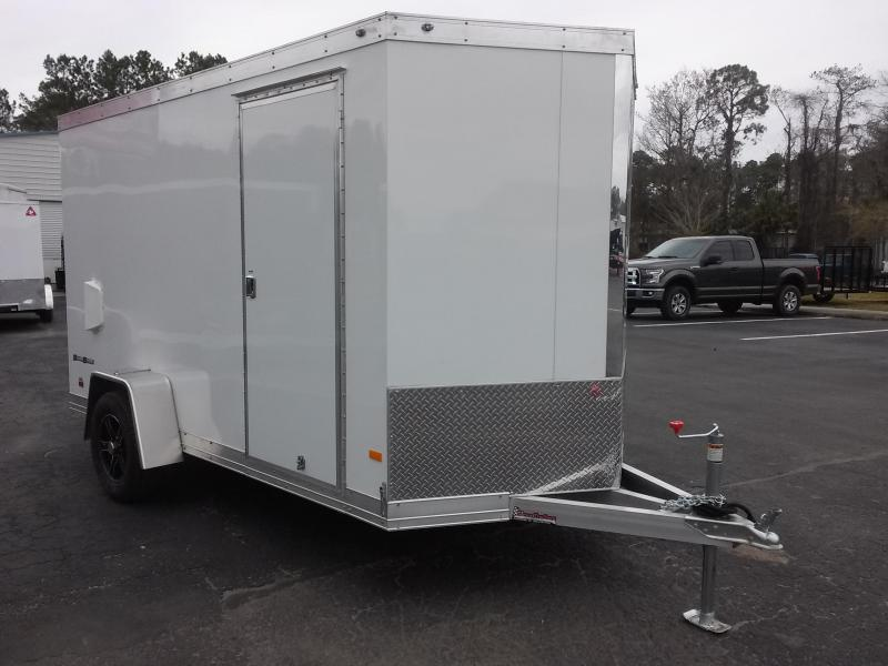 WAUV6X121 WELLS CARGO 6X12 SILVER SPORT ALUMINUM ENCLOSED CARGO TRAILER W/ (4) D-RING TIE DOWNS