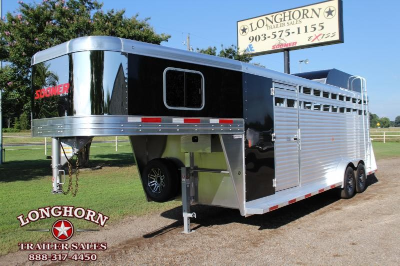 2020 Sooner 22ft Stock Combo with Swing Out Saddle Rack Livestock Trailer