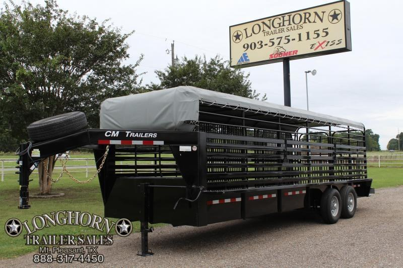 2017 CM 6.8ft x 24ft Stock Trailer with Butterfly Gates