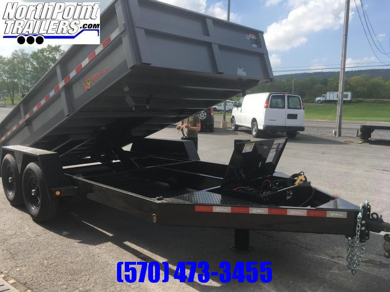 2019 B-Wise DLP14-15 Dump Trailer - Hammertone & Black