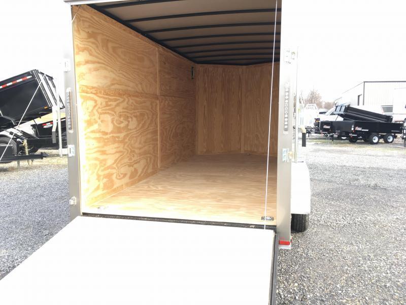"""2018 Samson SP716TA Cargo Trailer - 80"""" Door Opening - D-Rings - Silver Frost"""