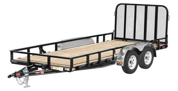 2018 PJ 7X18 7k Utility Trailer w/Side Mount ATV Ramps